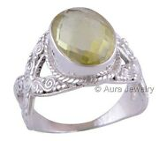 Solid 925 Sterling Silver Lemon Topaz Gemstone Cocktail Ring Jewelry R1739-4