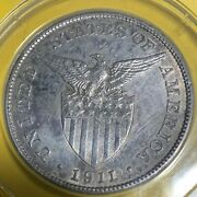 Us Philippines 1911-s One Peso Anacs Au 55 Details Cleaned Semi Key Date Scarce
