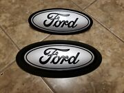 2018-20 Ford F150 Front And Rear Emblem Custom Matte Black And Ingot With Surround