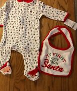 Carters Babys Christmas One Piece W/ Bib My First Visit From Santa Size 3 Months