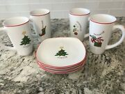 Fitz And Floyd Merry Christmas 8 Piece Gift Set Dessert Plates And Mugs