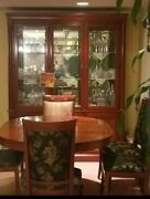 Ethan Allen China And Dining Room Table With 6 Chairs Solid Cherry Woodandnbspandnbsp