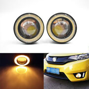 2x 2.5 64mm Yellow Led Cob Halo Angel Eye Rings Autos Fog Light Projector Lamps