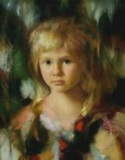 F J J C Francisco Masseria -a Young Girl Face- Original Oil Painting On Canvas