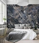 Navy Marble Wall Art Wallpaper - Peel And Stick