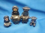 Vintage Amish Cast Iron Figures Toy Family With A Park Bench As Seen