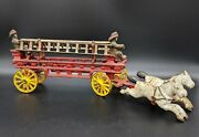 Vintage Cast Iron Two Horse Drawn Hook And Ladder Fire Wagon Toy