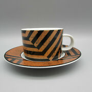 Set Of Four - Sasaki Fine China Copper Fields Cup And Saucer Sets