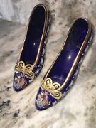 Porsem Glass Antique Art Shoes With Gold Color Detail Made In Turkey