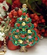 Betsey Johnson Lovely Multi Color Green Trimmed Christmas Tree Pendant Necklace
