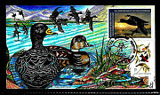 Rw69 15 Stamp 2002 Magnificent Black Scoter Fran B. Paslay Hand Painted Fdc