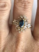 Antique Style 14k Yellow Gold Diamonds And Blue Sapphire Ring Genuine Any Size