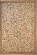 Hand Woven Aubusson Style Wool Rug Oversized 12 X 17.6 Ivory All Over Design