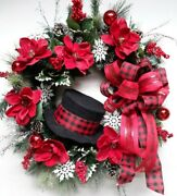 Snowman Door Wreath Christmas Holiday Decor Woodsy Holly Frosty Snowflake Decor
