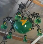 Vintage Wrought Iron Chandelier Green Glass Shades Hand Made Art Deco Style