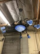 Vintage Wrought Iron Chandelier And Blue Glass Shades Art Deco Style Handmade