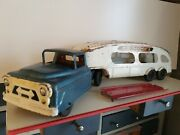 Vintage Marx Auto Transport Truck And Trailer W/ramp Pressed Steel Toy Vehicle