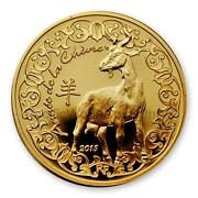 France 2015 Year Of Goat 50 Euro 1/4 Oz Gold Coin Sku 4366
