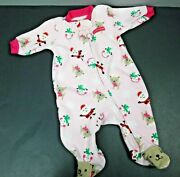 Carters Child Of Mine My First Christmas Girls Footed Sleeper Pink 0-3 Months