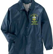 Uss Loyalty Am-457 Navy Veteran Coaches Embroidered Lightweight Jacket