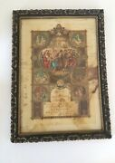 Antique Frame And 120 Year Old Marriage Certificate From Colonge Germany