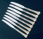 8 Oneida Silver Rogers Floral Queen Dinner Knives Silver Plate Flatware Retired