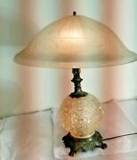 Art Nouveau Table Lamp Hand-made Blown Glass White