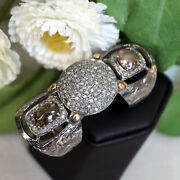 54x22 Mm Natural Pave Diamond 925 Sterling Silver 14k Gold Armor Knuckle Ring