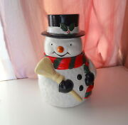 Vtg Signed Ogg Usa Snowman With Broom Large American Not Chinese Cookie Jar Rare