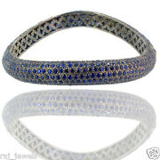 15.94ct Blue Sapphire Pave Gemstone Bangle 14k Gold Sterling Silver Fine Jewelry