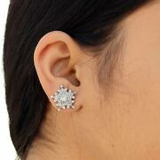 Genuine Diamond Pave Stud Earrings Solid 18 K White Gold Antique Finish Jewelry