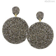 Pave Diamond Sterling Silver Dangle Earrings 14k Gold Antique Style Jewelry Py