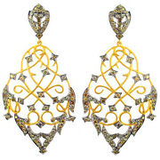14k Gold Dangle Earrings Sterling Silver Natural 3.58 Ct Diamond Pave Jewelry Py