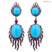Gemstone Turquoise Dangle Earrings Sterling Silver Diamond Pave 14k Gold Jewelry