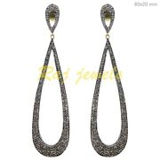 3.1ct Pave Diamond Dangle Earrings Vintage Style 925 Sterling Silver Jewelry Qy