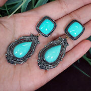 Turquoise Gemstone Pave Diamond 14k Gold Dangle Earrings Sterling Silver Jewelry