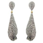 5.8ct Diamond Pave 925 Silver Dangle Earrings 14k Gold Vintage Look Jewelry Oy