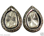Rose Cut Diamond Pave 925 Silver Pear Stud Earrings 14k Gold Antique Finish Gift