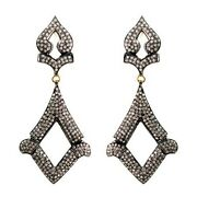 Diamond Pave 925 Sterling Silver Vintage Style Dangle Earrings 14k Gold Jewelry