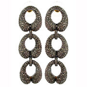 14k Gold Pave Diamond 925 Sterling Silver Vintage Style Dangle Earrings Jewelry