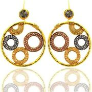 Solid 18k Yellow Gold 1.44ct Pave Diamond Hook Dangle Earrings Jewelry Moms Gift