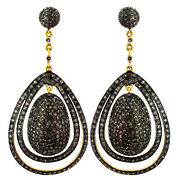 Vintage Style 14k Gold 7.19 Ct Diamond Pave 925 Sterling Silver Earrings Jewelry