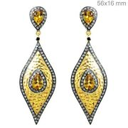 Pave Diamond Citrine Dangle Earrings 925 Sterling Silver 14k Yellow Gold Jewelry