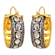 4.20ct Diamond Pave 14k Gold Hoop Earrings Sterling Silver Antique Style Jewelry