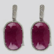 Ruby Dangle Earrings Sterling Silver Pave 1.98ct Diamond Fine Jewelry Xmas Gift