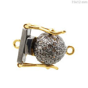 New 14k Gold Pave Diamond Connector Sterling Silver Finding Vintage Look Jewelry