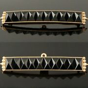 Victorian C-1880s Solid 18k Gold Onyx And Seed Pearl Mourning Pin Brooch