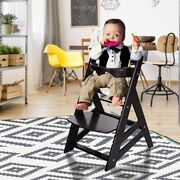 Kids Wooden Highchair Adjustable Height Removable Tray Baby Child Seat Toddler