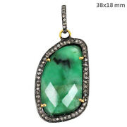 Antique Style Emerald Pendant 14k Gold Pave Diamond Sterling Silver Jewelry Py