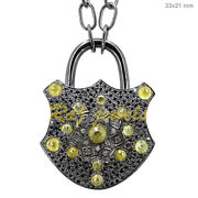 Natural 1.58ct Diamond Pave Padlock Pendant Sterling Silver Antique Look Jewelry